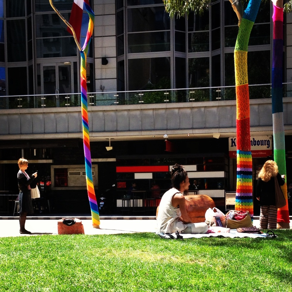 Yarn Bombing City Square Melbourne 3