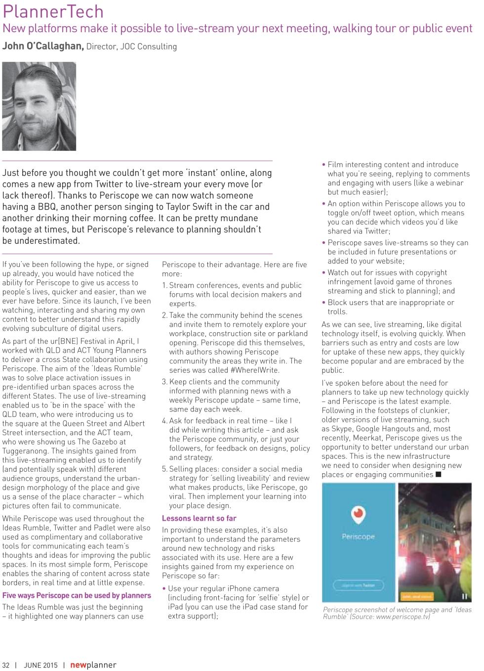 New Planner Magazine John O'Callaghan JOC Consulting Planner Technology