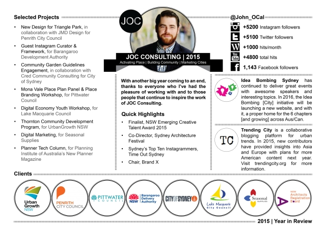JOC Consulting John O'Callaghan 2015 Year in Review